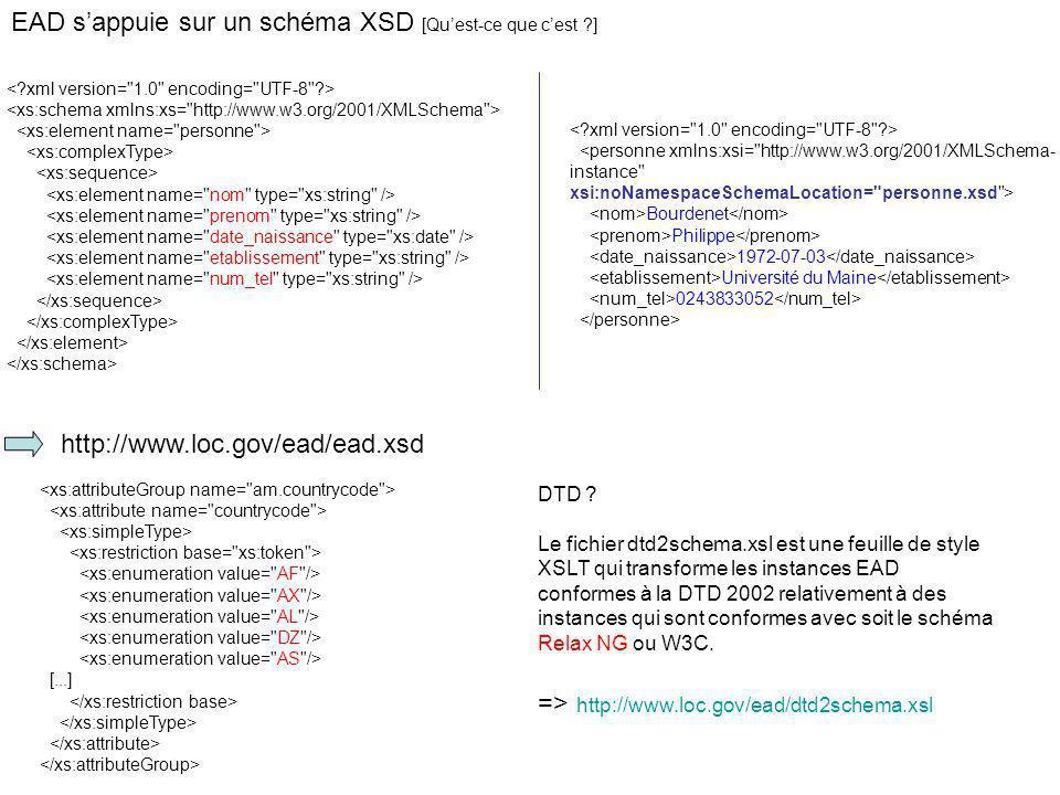 EAD s'appuie sur un schéma XSD [Qu'est-ce que c'est ]